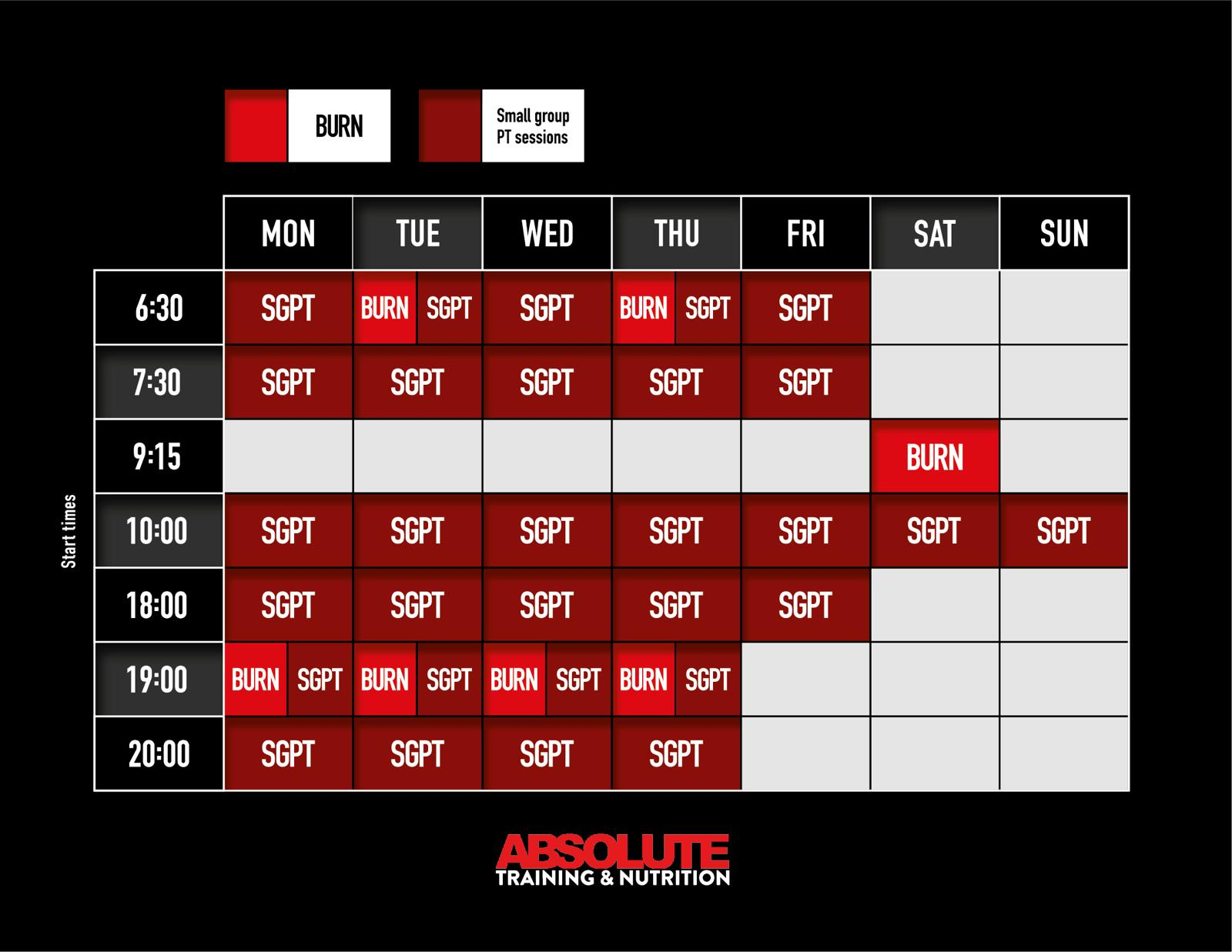Small Group Personal Training Timetable for Absolute Training & Nutrition